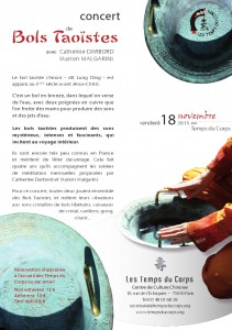 Concert de bols taoïstes avec Catherine Darbord et Marion Malgarini le vendredi 18 novembre 2011 à Paris